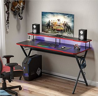 58 inch Large Gaming Desk Ergonomic PC Gaming Table Gamer Computer Desk with ...