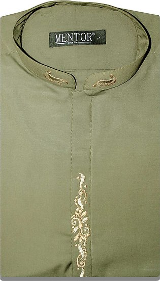 Olive Wash n Wear Embroidery Mens Kurta