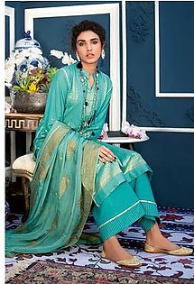 """GA - GA - Gul Ahmed-Summer Collection 2019 C.Green Jacquard Collection-3 PC Unstitched-MJ-01 -195984"""""""