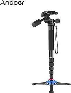 "Andoer Portable Aluminum Alloy 6-Section Monopod with 3 Way Camera Video Damping Head Unipod Holder Max. Height 169cm 1/4"" Screw Mount for Canon Nikon Sony DSLR ILDC Camera DV Max. Load Capacity 10kg"
