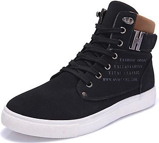 Casual Men High Cut Canvas Shoes Sneakers Sports Black