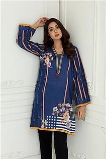 So Kamal Women Summer Collection 2019 Blue 1 PCS Pret - Printed Int:XS Lawn Shirt DPL19-533