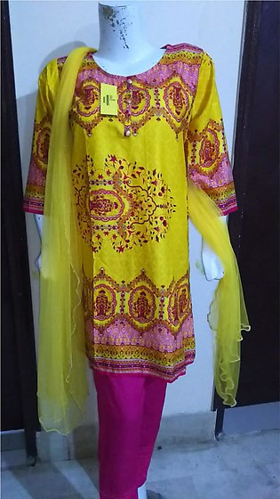 Multi  color embroidered & stitched 3 piece suit for females stuff cotton by A-…