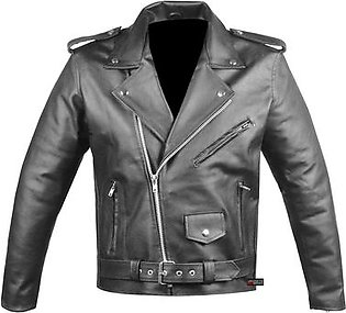 Leatherly Men's Classic Side Lace Police Style Motorcycle Black Jacket