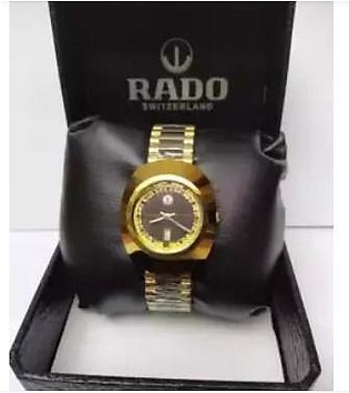 Fitron Black Dial Magnetic Design Golden Watch with Day and Date With Free Box