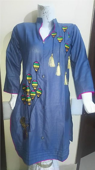 Gray color embroidered  & stitched shirt for females stuff cotton by A-J Corner