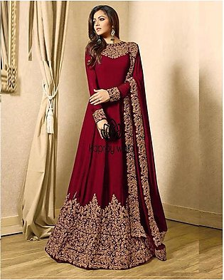 Red Embroidered Unstitched Frock for Women