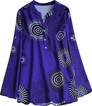Womens National Style Printing Long Sleeve Tunic T-Shirt Blouse Tops DB/L