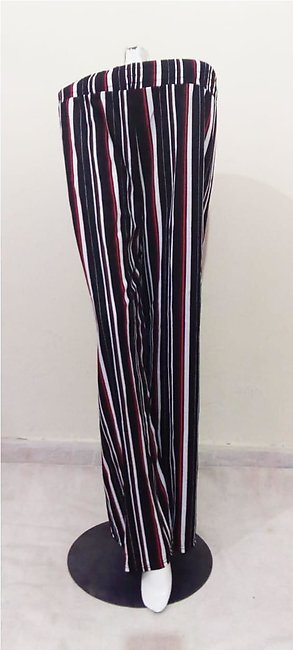 Red & Black Lining Trouser Pant With Belt for Women Free Size