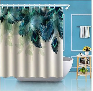 Watercolor Decor Shower Curtain Peacock Feather Pattern Polyester Fabric Bath...