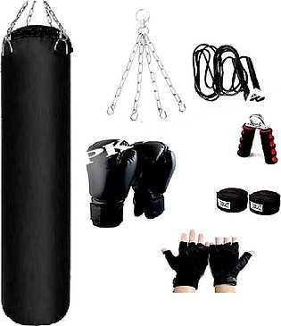 Pack Of 7 3Ft Boxing Bag High Quality Punching Bag Gloves Chain Skipping Rope G…