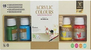 Acrylic Painting Colors - 6 basic colour acrylic paint in bottle 25ml in each