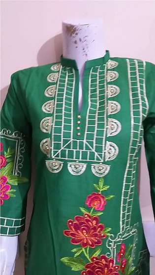 Green color embroidered & stitched shirt for females stuff cotton by  A-J Corner