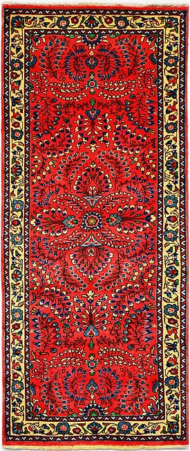Sarouk hand-knotted rug in Floral Design with Wool on Cotton Base