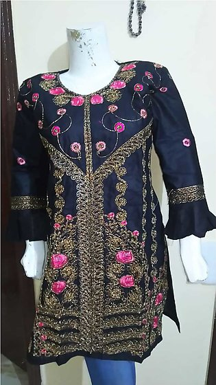 Black color embroidered & stitched shirt for females stuff cotton by A-J Corner