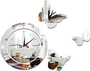 Modern Design Wall Clock Acrylic Mirror Round Clock Crystal Wall Clock Butterfly Home Decor Wall Clo