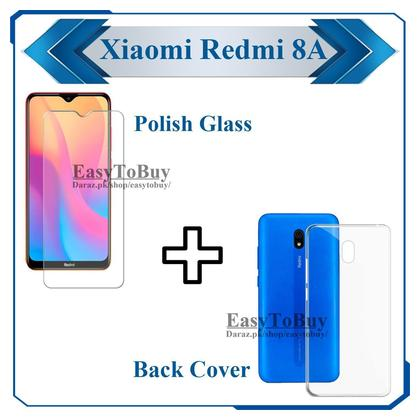 Xiaomi Redmi 8A Glass tempered Screen Protector + Back Cover Transparent Crystal Clear Soft Case Jelly Cover For Mi 8A