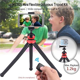 MZ305 Mini Flexible Octopus Tripod Spider Stand Holder with Phone Holder Phon...