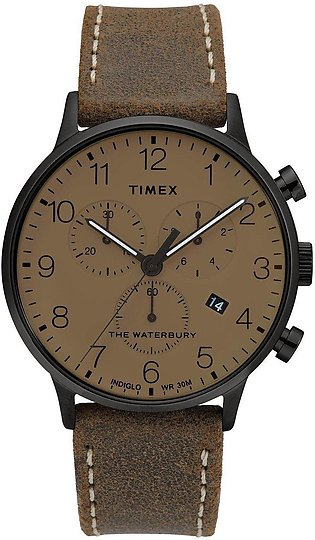 Timex Waterbury Classic Chronograph 40mm Brown Black Watch for Men-TW2T28300
