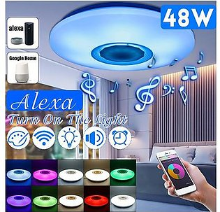 48W Smart WiFi bluetooth RGB 108 LED Ceiling Light Music Speaker Lamp For Alexa Google Home Garden Party Decoration