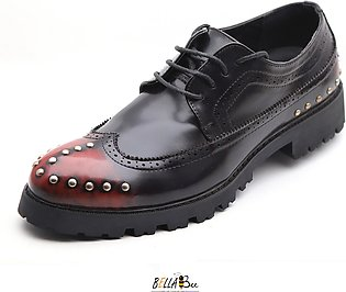 Black & Maroon Leather Lace-up Rock Star Shoes for Men