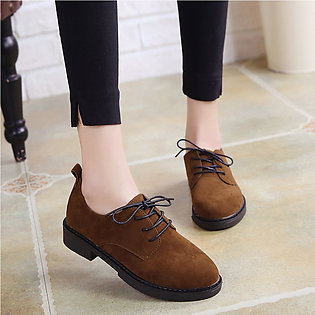 Women All Match Lacing Thick Heel Solid Color Martin Boots
