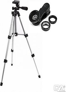 Pack of 2 - WT3110A Portable Mobile Phone Tripod Stand + 3in1 Mobile Lens