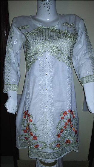 White color embroidered & stitched shirt for females stuff cotton by A-J Corner