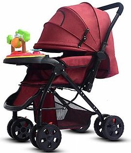 Topsky Luxury Music Baby Stroller Foldable Infant Pushchair with Anti-shock High View, Adjustable Backrest Load-bearing up to 50KG