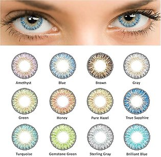Pair of Contact Lens Multi Color Eye Lens Soft Eye Lenses With Solutions High Q…