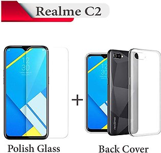 Real me C2 Tempered Glass Screen Protector + Transparent Back Cover For Real-me…