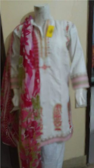 White color embroidered & stitched three piece suit for females stuff cotton ...