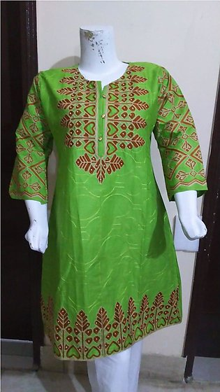 Light green color embroidered & stitched shirt for females stuff cotton by A-...