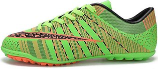 Striped Printed Soccer Shoes Non-Slip Rubber Sole Football Boots Lace-Up Spor...