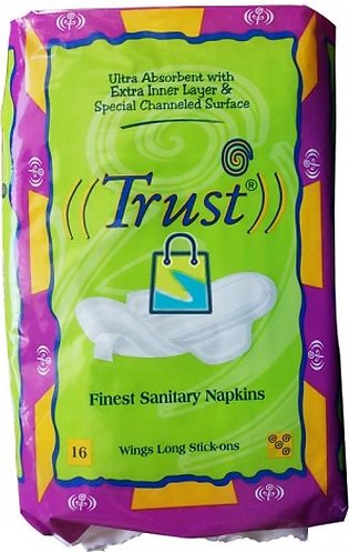 Pack Of 4 - Trust Finest Sanitary Napkins Wings Long Sticks-Ons 16