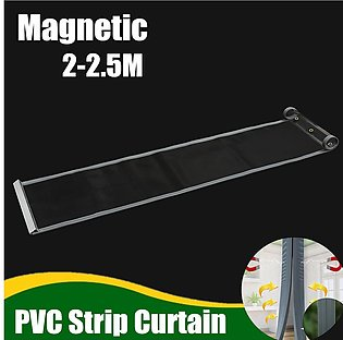 Clear Flexible PVC Door Curtain Strip Magnetic Closing Fly Insect Bug Screen#...