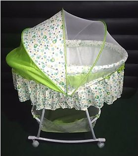 Baby Swing Cradle Cot With Mosquito Net Wheels Bassinet Rocking Crib