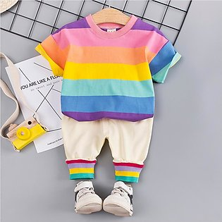 ✫Good Quality✫ Toddler Baby Boy Kids Rainbow Stripe Tops T-shirt +Pants Outfits…