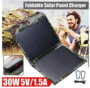 Global collection---30W Foldable Dual USB Solar Panel Folding Power Bank Outdoor Battery Charger New