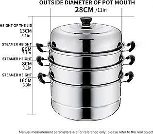 28*32.5CM Stainless steel steamer four-layer household large capacity soup pot
