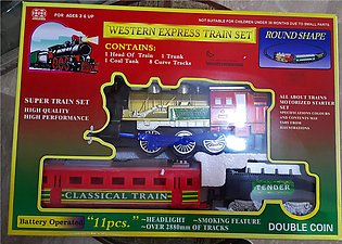Premium 11 Pcs Real Train & Track Set With Headlight & Smoking Feature - TMS