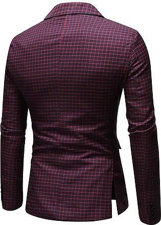 Men Coat New Style Plaid Simple Casual Suit Comfortable Outwear