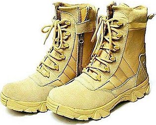 Black Leather Army Delta Boots Shoes For Men