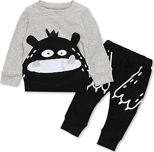 Children'S Spring Autumn Boys Long Sleeves Small Monster Pattern Top + Trousers…