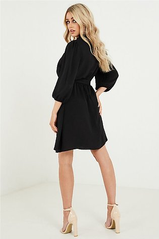 NEW LOOK Black Frill Neck Belted Mini Dress for Women- 644609601-8