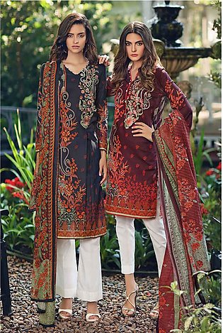 """""""GUL Ahmed-Summer Special Edition 2019 Maroon Lawn-2PC Unstitched-TL-206 A-20..."""
