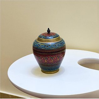 Candy Jar Red and Sky Blue Art work Hand Made Handcraft Carved Antique wooden...