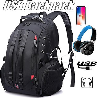 USB Charging Laptop Backpack Large Capacity Waterproof Nylon Outdoor Travel Bag