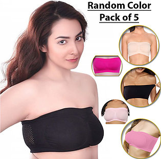 Pack of 5 Compression Tube Bras for Women Strapless and Breathable Ladies Under…