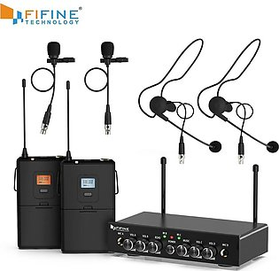 Fifine - Dual wireless system with lavaliere & head-worn microphones for speech…